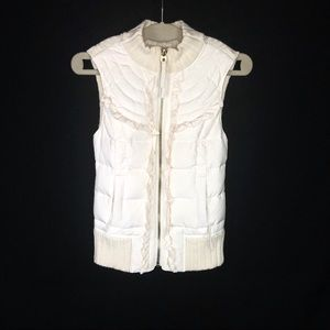 Juicy Couture Ivory Cable Knit Down Puffer Vest